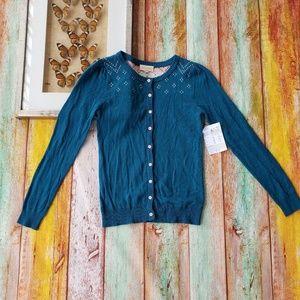 Modcloth Turquoise Intarsia Lighweight Cardigan S